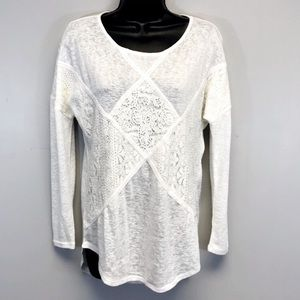 Francesca's | White Long Sleeve Lace Oversized Top